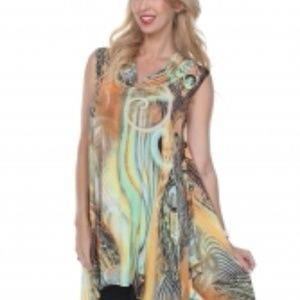 Cowl Neck Uneven colorful abstract Tunic top